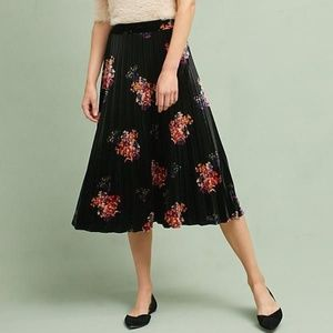 Anthropologie Maeve  Floral Velvet Skirt